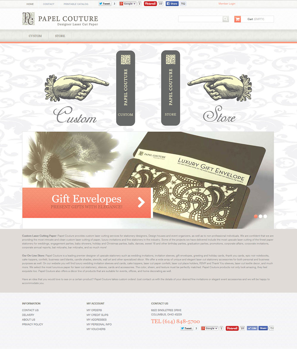 eCommerce Website Design for Papel Couture