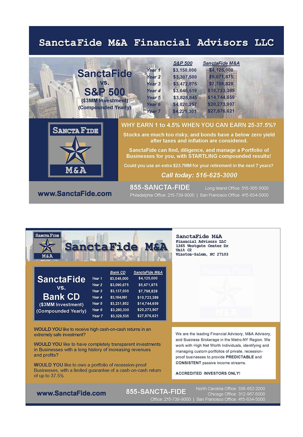 PDF Postcard Content and Design Revisions for SanctaFide M&A Financial Advisors