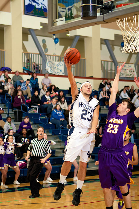 Senior Kyle Taylor takes it to the hoop
