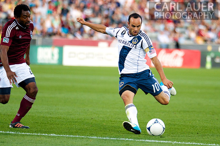 September 30, 2012: Los Angeles Galaxy midfielder Landon Donovan (10) takes a shot on goal during the MLS Soccer Match between the Colorado Rapids and the Los Angeles Galaxy at Dick's Sporting Goods Park in Commerce City, Colorado