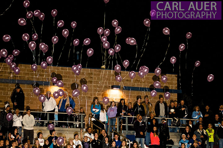 October 12th, 2012: Ralston Valley Mustang fans release purple balloons in memory of the missing Jessica Ridgeway, who's body, that was found just a few miles from Ralston Valley High and Pomona High, was positively identified early Friday morning.