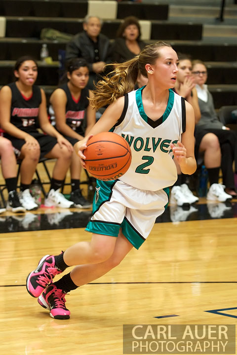 December 3rd, 2012:  A Westminster Lady Wolves Varsity basketball player dribbles the ball in the game against the visiting Pomona Panthers Monday night.