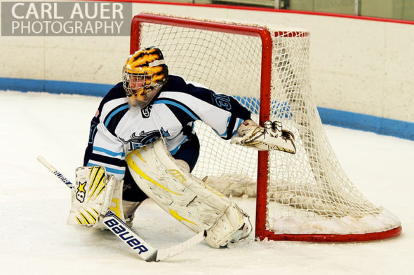 December 18, 2012: The Ralston Valley goalie sets up for a shot on goal in the game between Cherry Creek and Ralston Valley at the APEX Ice Arena on Tuesday night.