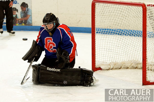 December 18, 2012: The Cherry Creek goalie deflects a shot in the game between Cherry Creek and Ralston Valley at the APEX Ice Arena on Tuesday night.