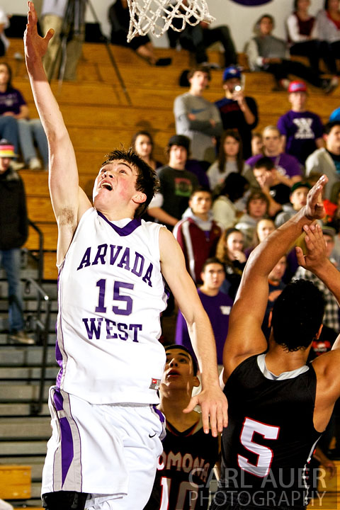 December 20, 2012: Arvada West Wildcat sophomore Thomas Neff (15) lays the ball up in the game between Pomona and Arvada West on Thursday night at Arvada West High School.