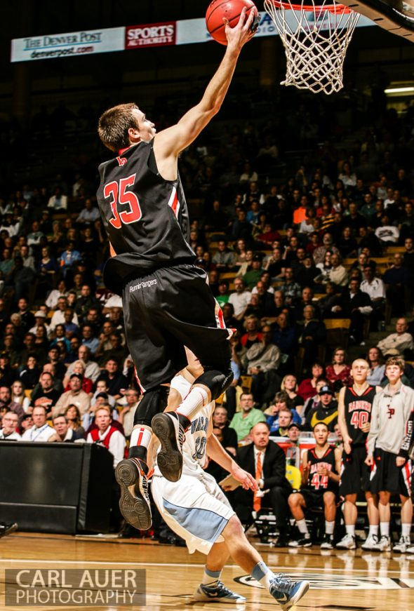 March 16th, 2013:  Lewis-Palmer Rangers senior guard Tyler Owens (35) glides to the hoop for a shot attempt in the CHSAA 4A State Championship game against the Valor Christian Eagles at the Coors Events Center in Boulder, Colorado