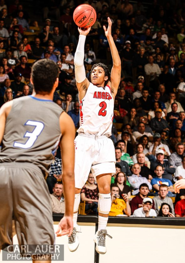 March 15, 2013: Denver East Angels junior guard Jevon Griffin (2) attempts a jump shot in the CHSAA 5A Final Four game against the Legend Titans at the Coors Events Center in Boulder, Colorado
