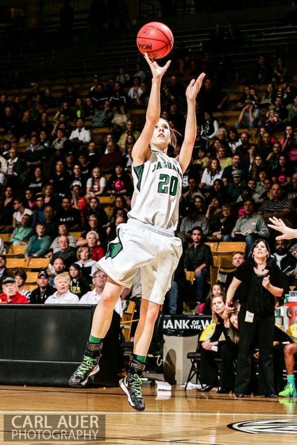 March 16th, 2013: D'Evelyn Jaguars junior forward Mallory Seemann (20) finds herself open for a shot in the Championship game against the Pueblo South Colts in the CHSAA 4A State Tournament at the Coors Events Center in Boulder, Colorado