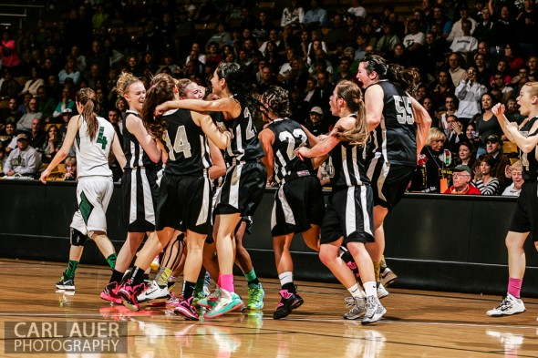 March 16th, 2013: Let the celebration begin for the Pueblo South Colts as they celebrate winning the State Championship over the D'Evelyn Jaguars in the CHSAA 4A State Tournament at the Coors Events Center in Boulder, Colorado
