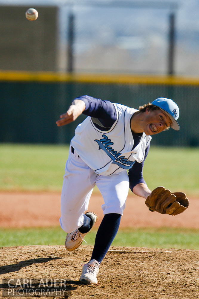 April 24th, 2013: The Ralston Valley Mustangs pitcher delivers the ball in the game against Arvada West at Ralston Valley High School in Arvada, Colorado