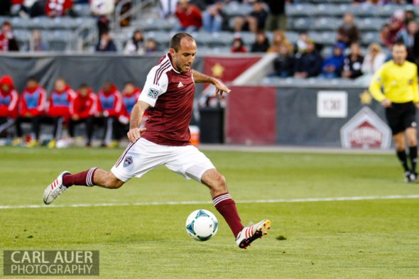 May 4th, 2013 - Colorado Rapids midfielder Nick LaBrocca (2) uncorks a shot on goal in the first half of the MLS match between the Toronto FC and the Colorado Rapids at Dick's Sporting Goods Park in Commerce City, CO