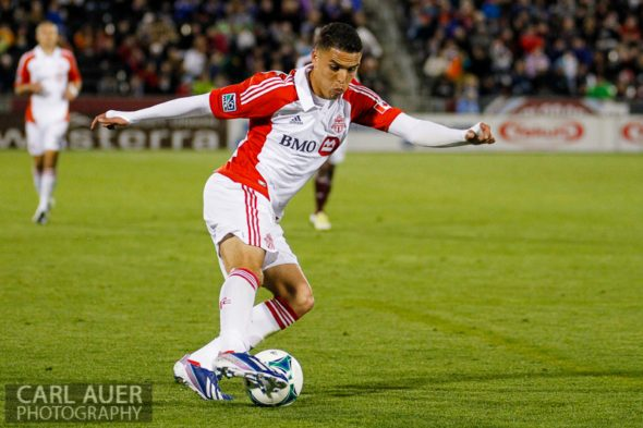 May 4th, 2013 - Toronto FC midfielder Luis Silva (11) shows off some fancy ball handling in the first half of the MLS match between the Toronto FC and the Colorado Rapids at Dick's Sporting Goods Park in Commerce City, CO