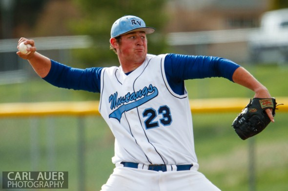 """April 30th, 2013: Ralston Valley Mustangs 6'-10"""" senior pitcher Daniel Skipper (23) delivers a pitch in the game against the Columbine Rebels at Ralston Valley High School"""