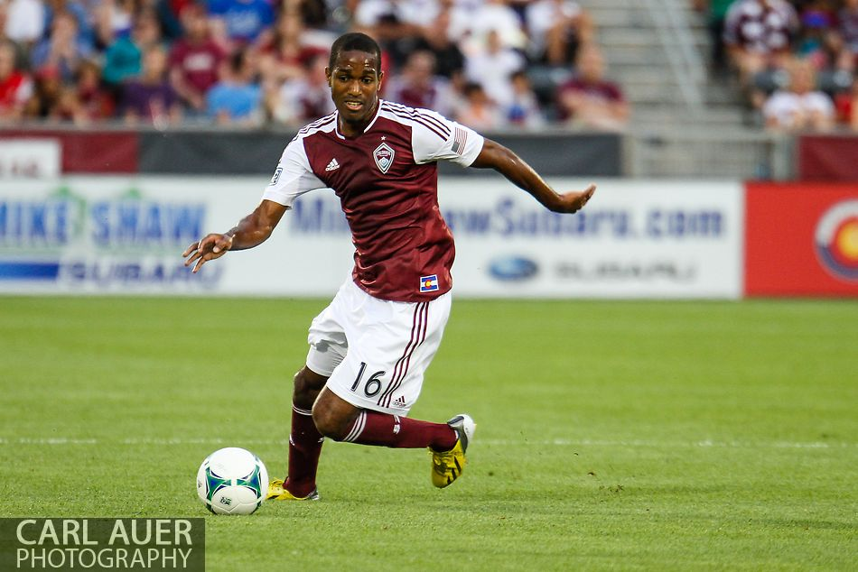 July 4th, 2013 - Colorado Rapids midfielder Atiba Harris (16) makes a quick turn with the ball in the first half of action in the Major League Soccer match between New York Red Bulls and the Colorado Rapids at Dick's Sporting Goods Park in Commerce City, CO