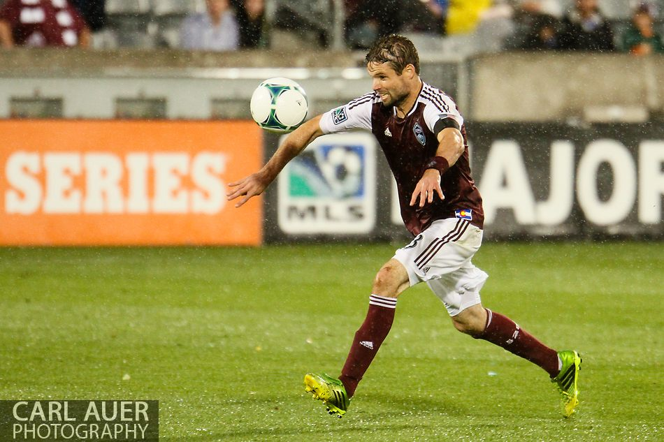 August 3rd, 2013 - Colorado Rapids defender Drew Moor (3) heads the ball back to his goalkeeper in the first half of the Major League Soccer match between Real Salt Lake and the Colorado Rapids at Dick's Sporting Goods Park in Commerce City, CO