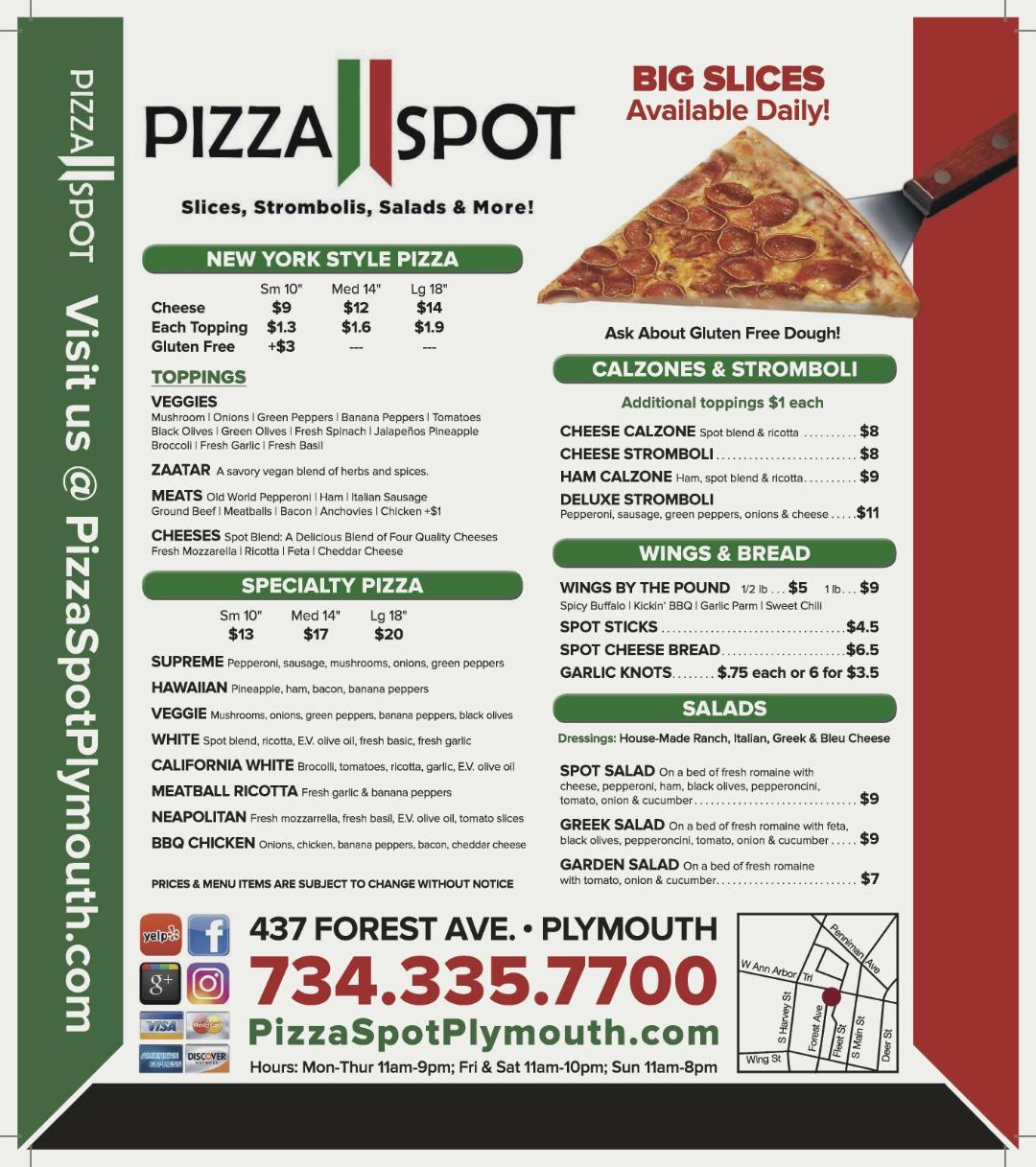 Pizza Spot Menu