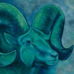 Turquoise Ram Oil Painting