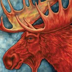 Red Moose Oil Painting