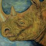 Yellow Rhino Oil Painting
