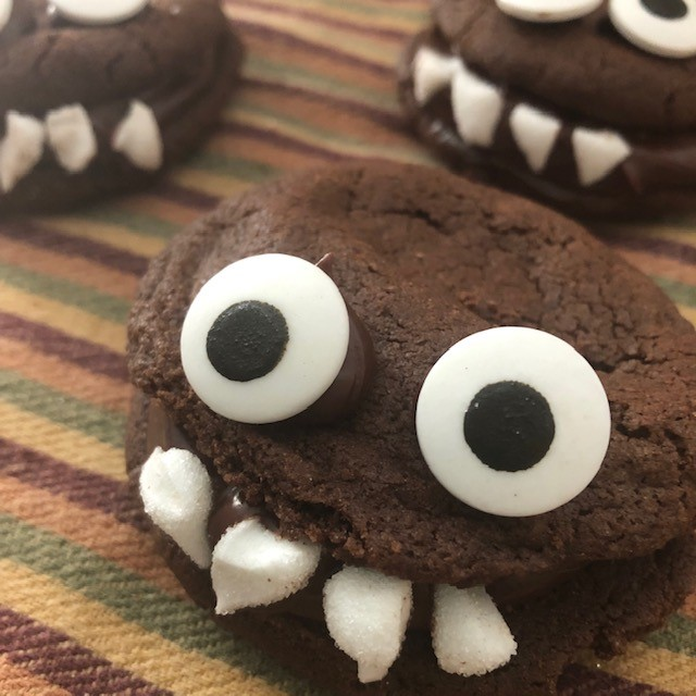 The Cutest Gluten Free Chocolate Monster Cookies! #HalloweenTreatsWeek
