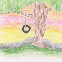 Drawing - Tire Swing Sunset
