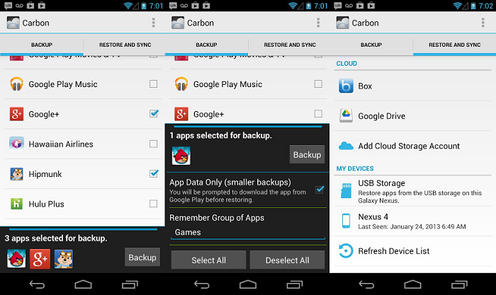 Koush's Carbon Backup now out of Beta and Available in the Play Store