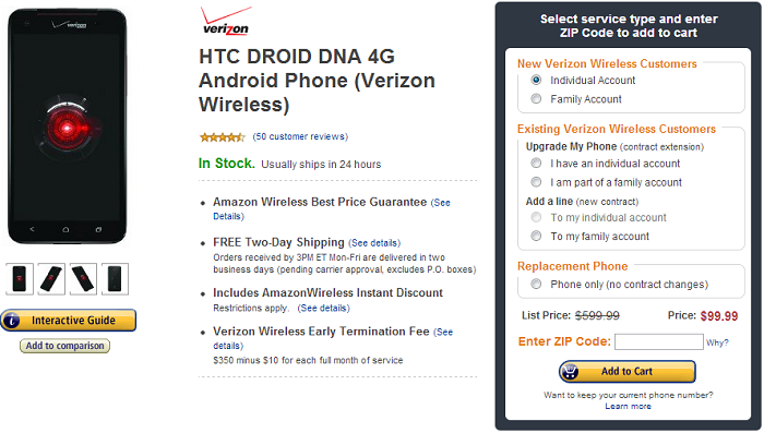Amazon Wireless Drops the Price of the DROID DNA to $99 With new 2-Year Contract