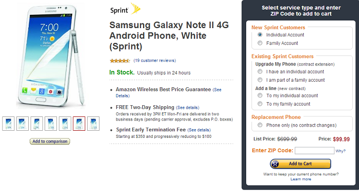 Sprint Samsung Galaxy Note II now Only $99 From Amazon Wireless [Deal Alert]