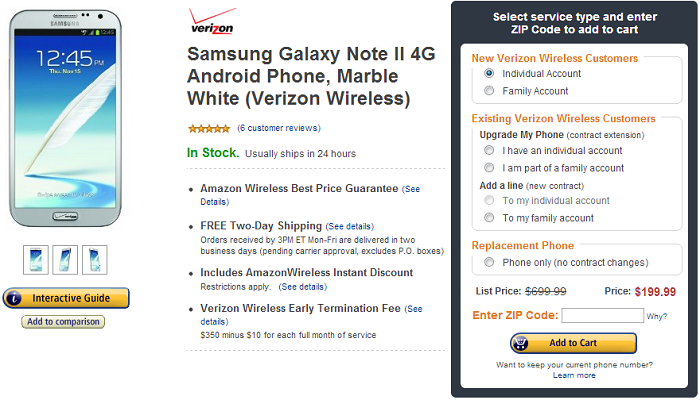 Amazon Wireless Drops Price of Verizon Galaxy Note II to $199.99 [Deal Alert]