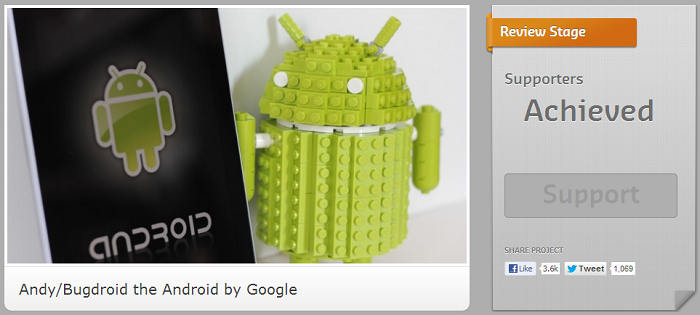 LEGO Bugdroid Reaches Review Status After Gaining 10,000 Supporters