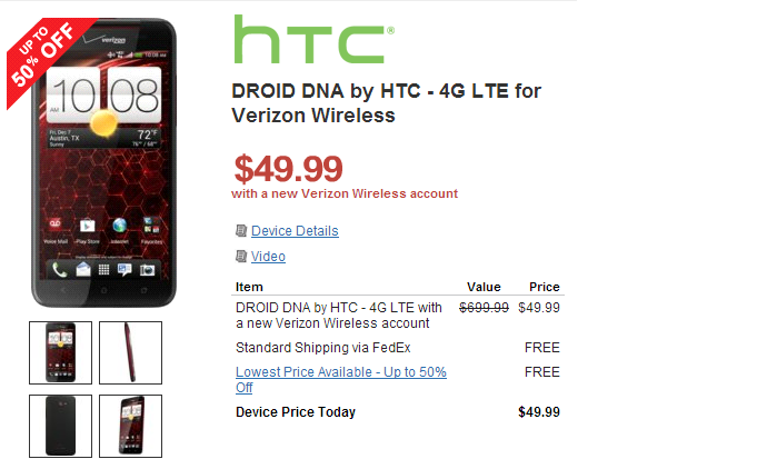 Wirefly Drops Price of HTC DROID DNA to $49.99 for new Customers [Deal Alert]