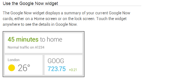 Google Now Widget Looks to be Right Around the Corner According to Support Docs