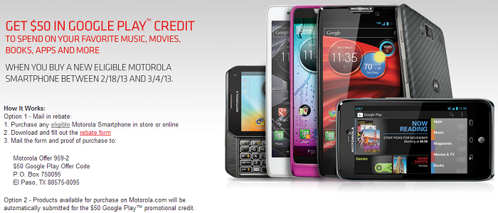 Get $50 in Google Play Credit When you Purchase a new Eligible Motorola Device