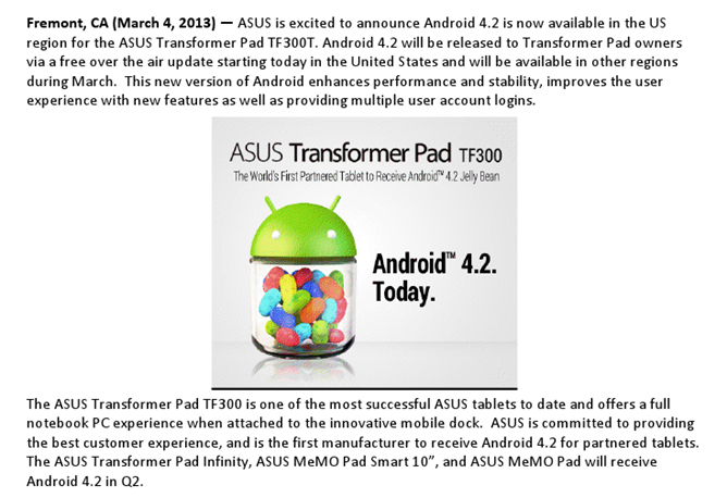 ASUS Knows how to do Updates, Releases Android 4.2 to the Transformer Pad TF300T