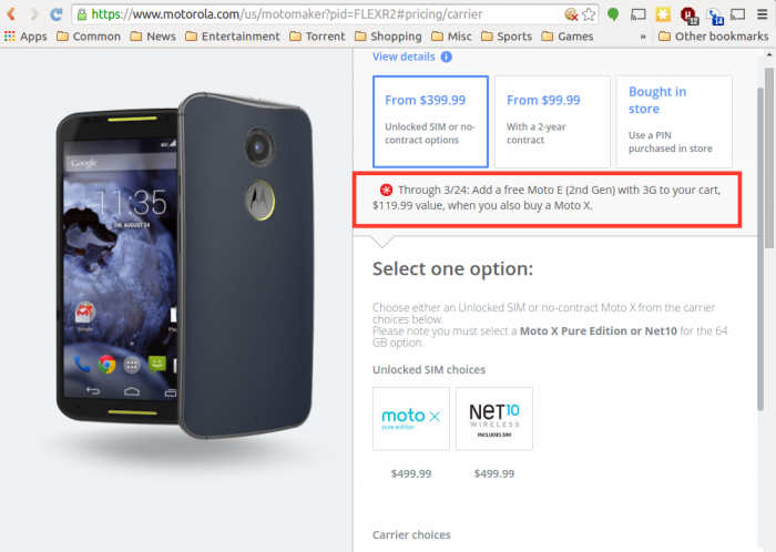 Deal: Get a Free Moto E With the Purchase of a Moto X!