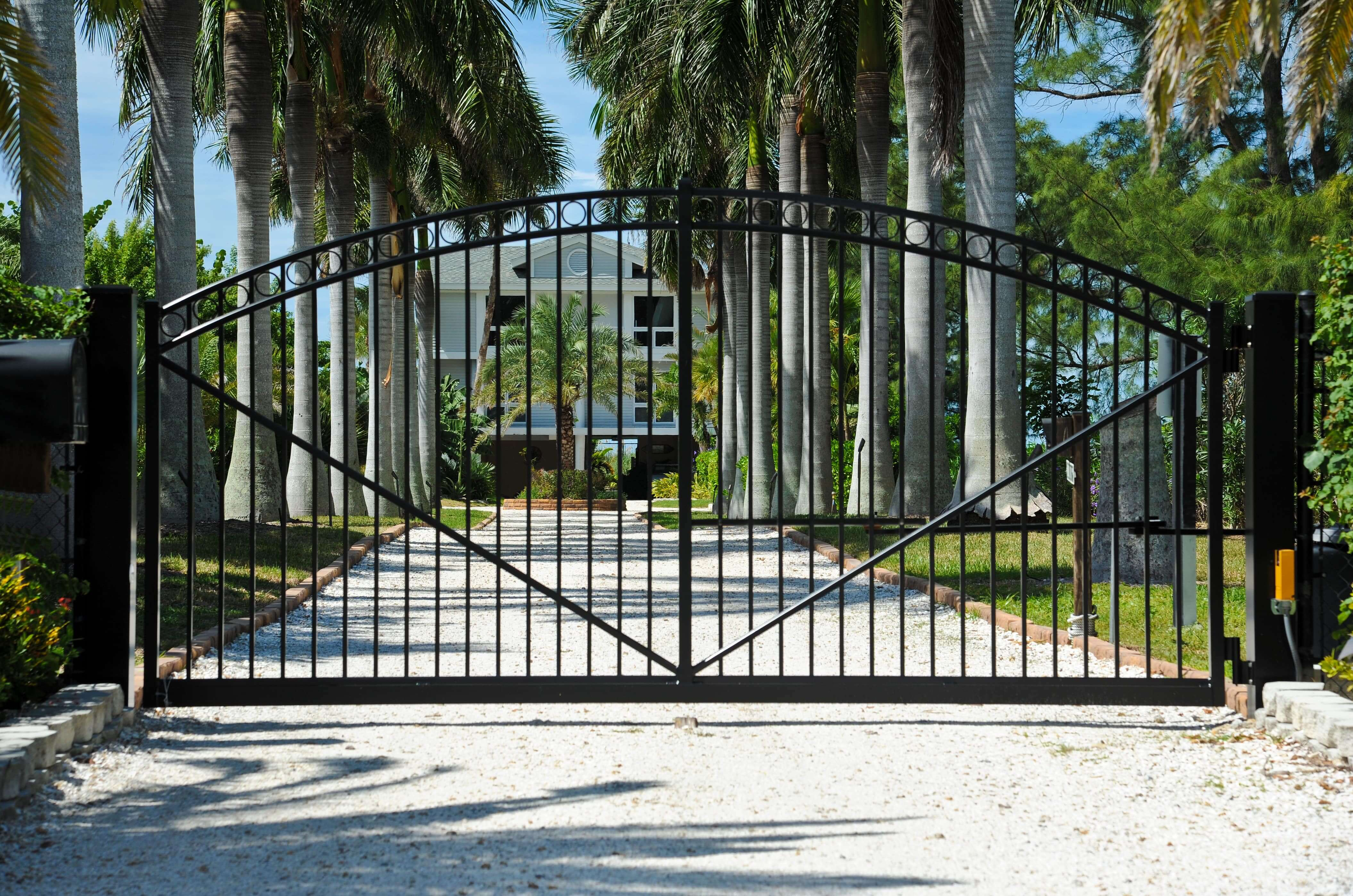 high end residence with security gate
