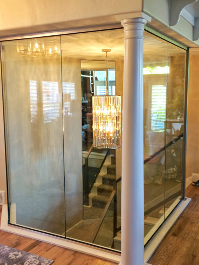 Glass enclosed stairwell entrance