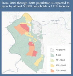 From 2010 through 2040, population is expected to grow by almost 50,000 households, a 111% increase. A map of Boone County showing expected increases in population. The areas to the west and southern portions of the county expect between 1-500 households, Only regions in the central part of the county expect growth between 1001-4000 households by 2040. Eastern and northeastern portions of the county expect no growth, or very little growth