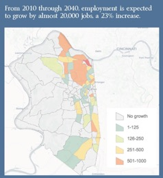 From 2010 through 2040, employment is expected to grow by almost 20,000 jobs, a 23% increase. Map of Boone County showing expected job growth. The majority of the high-growth areas are surrounding the airport and northern portion of the county. There is little to no expected growth in the western part of the state, while the majority of the eastern portions expect some growth.
