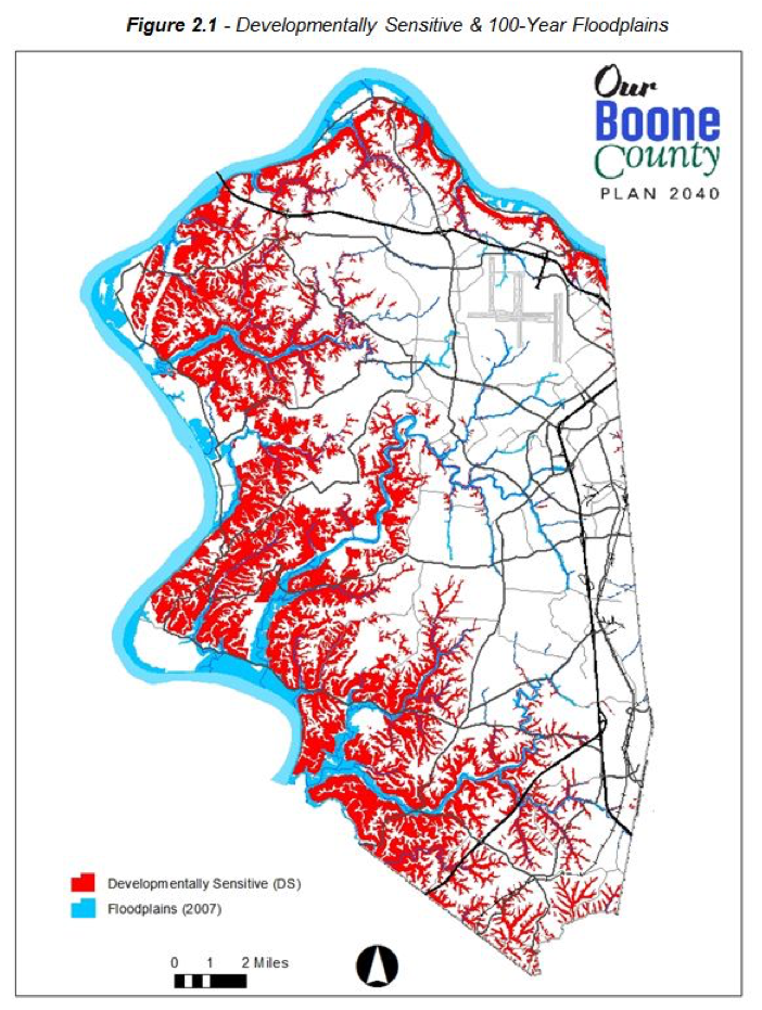 Image showing outline of Boone county, with one color marking developmentally sensitive (DS) areas mainly around the Northern, Western and Southern borders, and Floodplains, which mainly extend inland from the Ohio River on the West