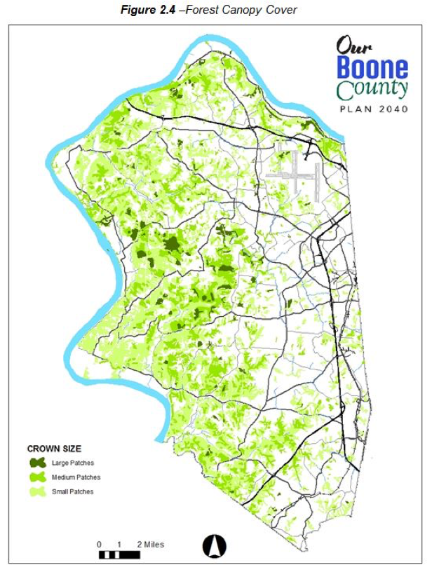 Figure 2.4 - Forest Canopy Cover. Map of Boone County showing crown size with areas indicated as large patches medium patches and small patches. The western half of the county contains significantly more patches compared to the western half. The area on the western edge, as well as northern tip and southwest portion contains significantly dense portions of small patches, with the cores of these areas containing medium patches in most cases, which follow the contours of the land. In approximately the vertically middle third and western half of the county there are some large patches, which are surrounded by tiered levels of medium and then small patches. The eastern half of the county contains almost no large patches save for some small areas near the vertically middle (but western) third and some areas more north and near the Ohio River. The eastern half of Boone County contains very small areas of small patches, where they exist, and contain even smaller areas of medium patches.