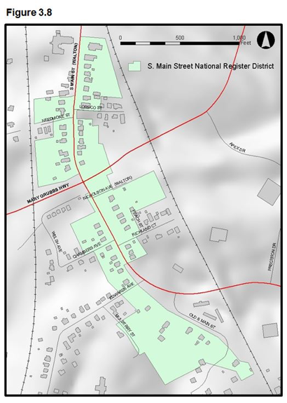 Figure 3.8 - Map showing Main Street National Register District which is bisected by Mary Grubbs Highway