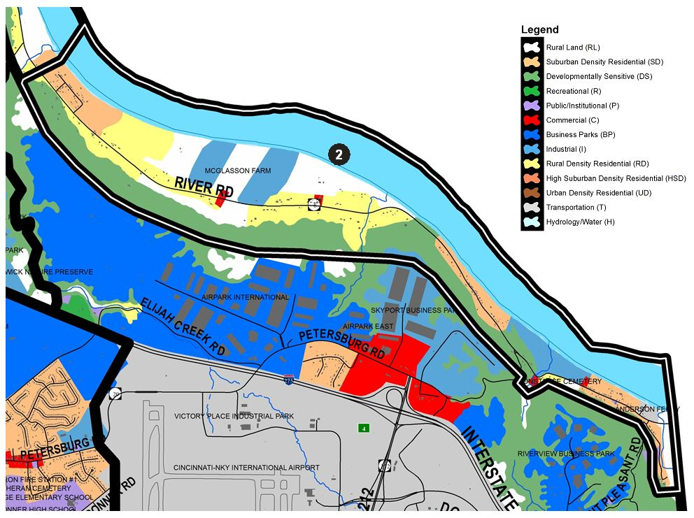 Zoomed in map of River Road area, with colors indicating separate land use areas