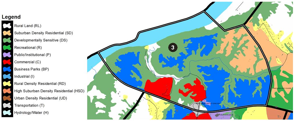 Zoomed in map of Constance area, with colors indicating separate land use areas