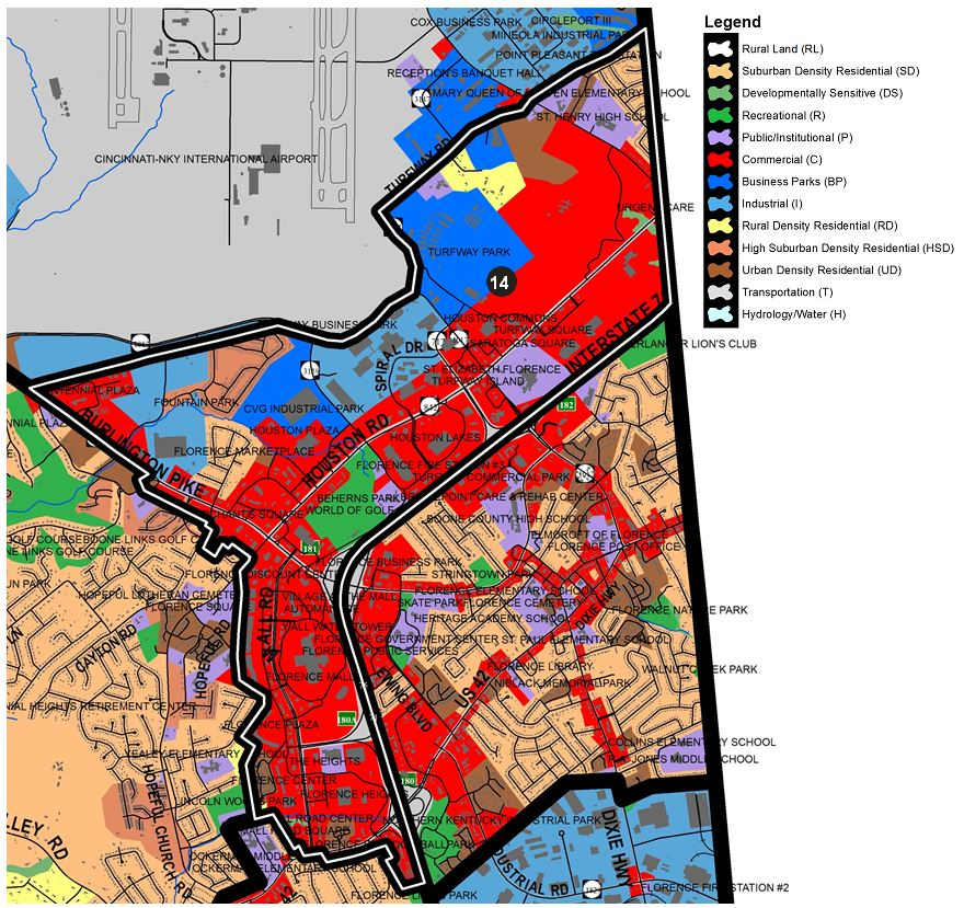 Zoomed in map of Pleasant Valley area, with colors indicating separate land use areas