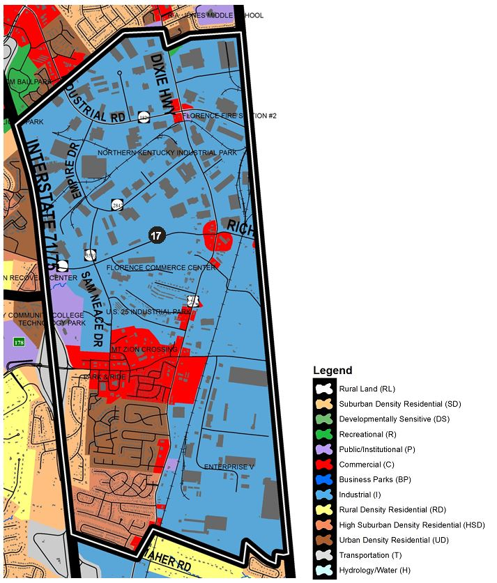 Zoomed in map of Florence South area, with colors indicating separate land use areas