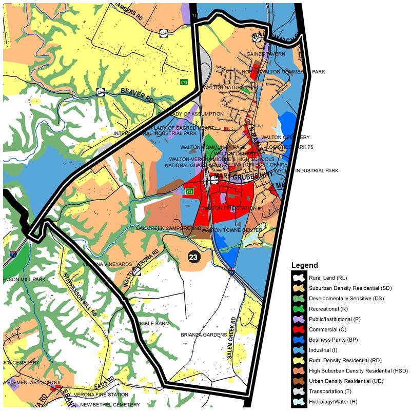 Zoomed in map of Richwood West area, with colors indicating separate land use areas