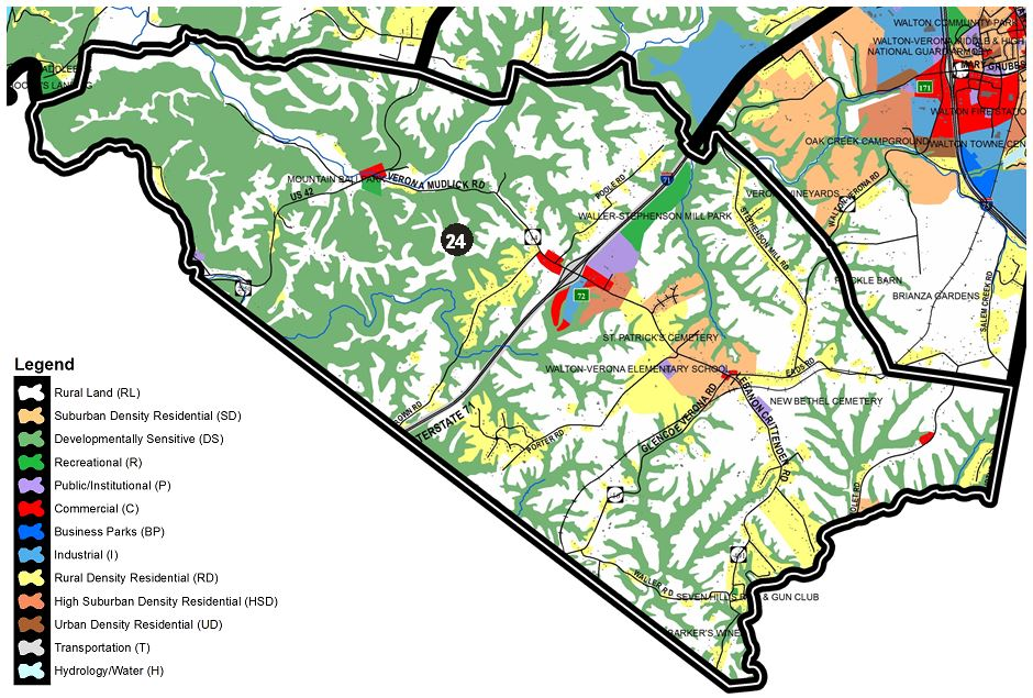 Zoomed in map of Walton area, with colors indicating separate land use areas
