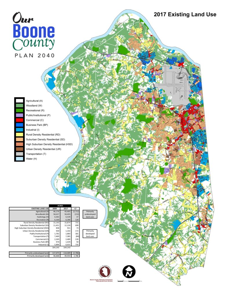 Map of all of Boone County 2017 Existing Land Use. With colors indicating separate land use areas