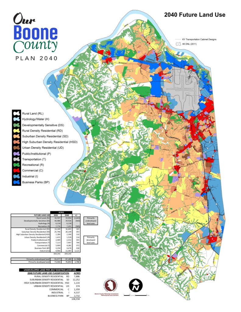 Map of all of Boone County 2040 Future Land Use. With colors indicating separate land use areas